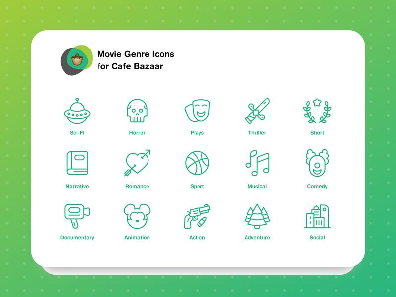 Movie Genres Icon Set sport romance genres film movie line cafebazzar ui iconset iran icon
