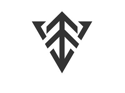 Arrow Tree Logo minimalist mountain shop gear adventure triangular tactical arrow outdoor pine tree