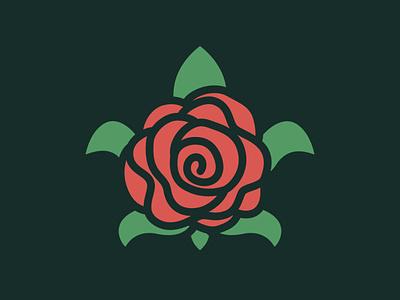 Turtle Rose Flower Logo illustration art botanical cosmetic ocean beach forever women leaf beauty rose simple minimal flower animal turtle