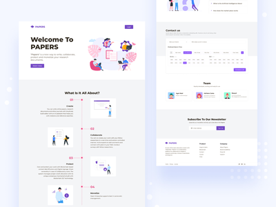 Papers - Landing page marketplace collaborate protect documents monetize research logo ui illustration design clean career path career guidance branding web design landing page
