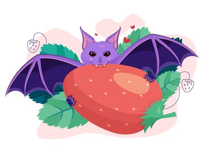Purple bat vampire eating strawberry