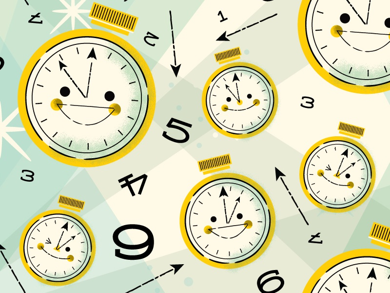 Time Pattern bite your thumb kali meadows time watches clocks cute vector mid century repeat pattern illustration