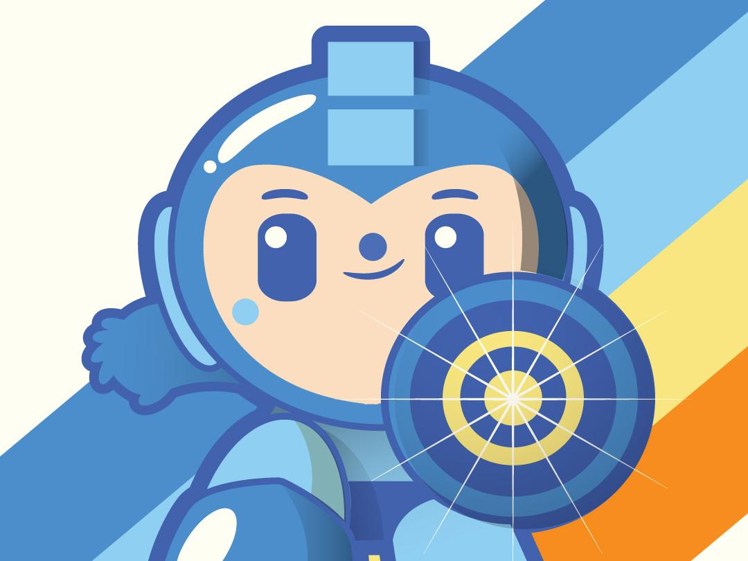 Megaman fanart character art character retro cute videogames mega man illustration vector kali meadows