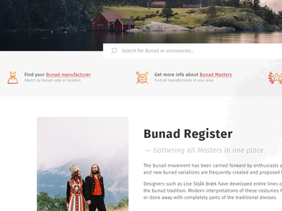 Bunad Register Home page promo page home ethnic plain bunad norway web web design typography debut
