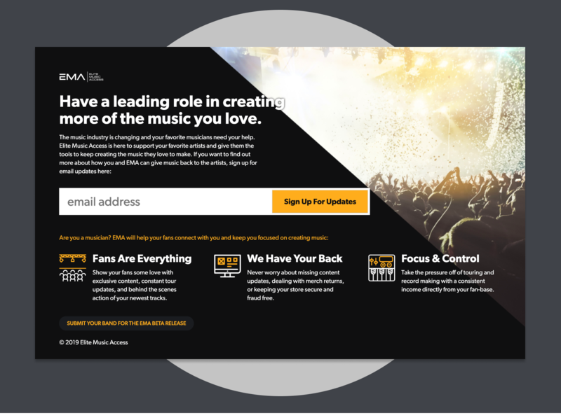 Holding page for music startup coming soon email beta holding landing