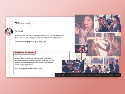Makeup Class Landing Page web design responsive collage crafts landing makeup web