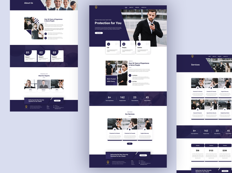 UI/UX design for security company site protection security uiux webdesign design