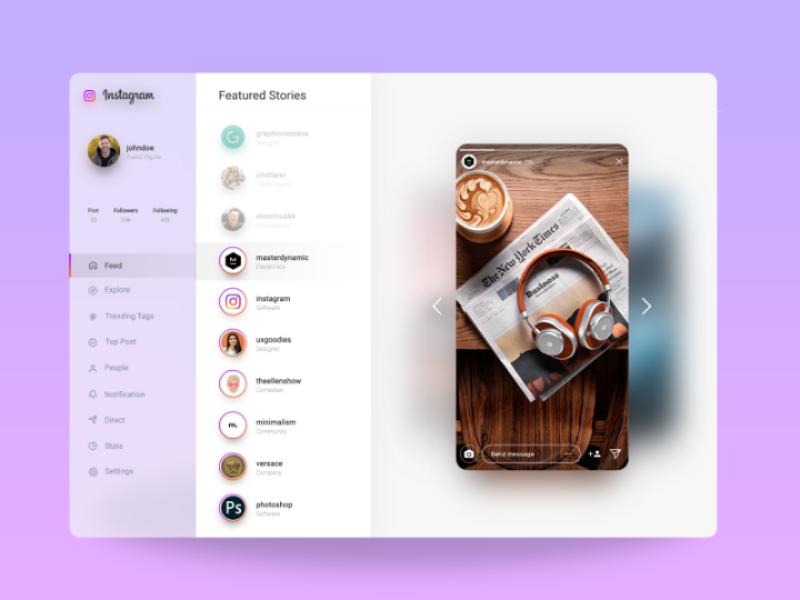 Instagram Website Redesign - Stories platform insta website webdesign web ux ui redesign stories instagram