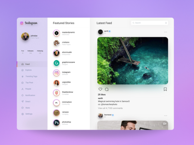Instagram Website Redesign Concept platform concept website profile insta web webdesign ux ui instagram redesign