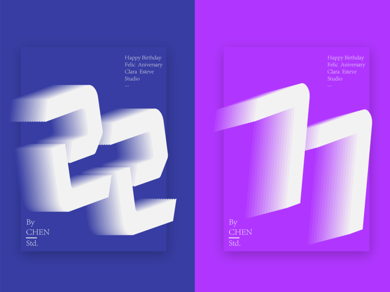 Two-tone gradient poster ui typography design illustration