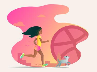 Running Morning Girl
