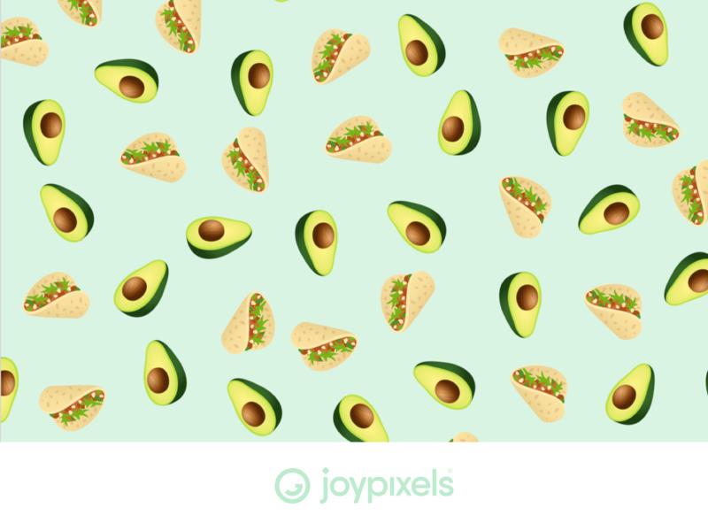 JoyPixels Emoji Pattern - Taco Tuesday patterns print background pattern art pattern food guac guacamole avocados avocado taco tuesday mexican food mexican tacos taco emojis character illustration icon emoji