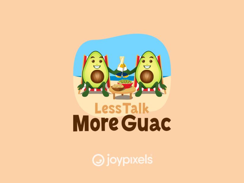 The JoyPixels Less Talk More Guac Emoji Sticker yummy food fun graphic glyph holiday beer guac guacamole avocados avocado cinco de mayo emojis character illustration icon emoji