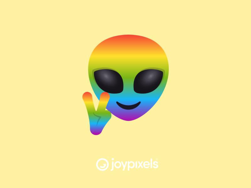 The JoyPixels Rainbow Alien Emoji Sticker - Pride Pack peace sign peace gay pride rainbow pride rainbow pride aliens alien smiley face smiley emojis character illustration icon emoji