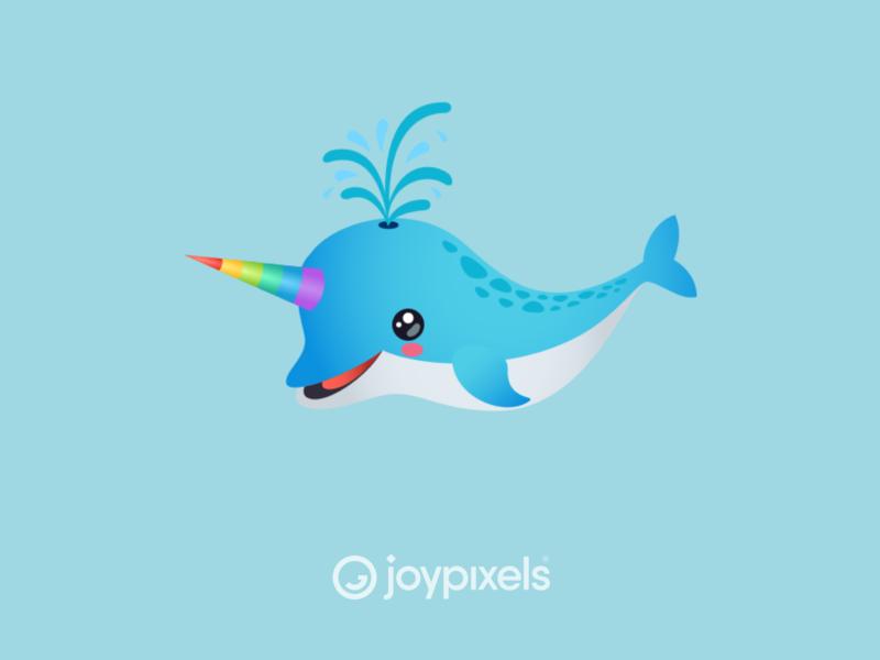 The JoyPixels Narwhal Emoji Sticker - Ocean Pack cute eyes cute rainbow sea animals animal sea life dolphin unicorn narwhal emojis character illustration icon emoji
