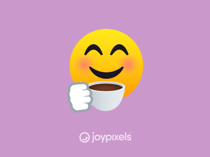 The JoyPixels Smiling Face with Coffee - All Smiles 1.0 glyph reactions coffee cup graphic reaction smiling coffee smiles smiley face smiley character icon emoji
