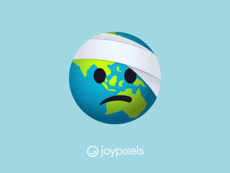 JoyPixels Bandaged World Emoji Sticker - Green Pack injury hurt bandage globe earth day frown sad green healthy health earthday world earth glyph graphic emojis illustration icon emoji