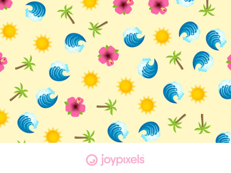 JoyPixels Tropical Island Pattern - Emoji Patterns 1.0 print vacation island sunshine sun tropics tropical palms palm tiles tiled tile background design seamless pattern art pattern design background pattern icon emoji