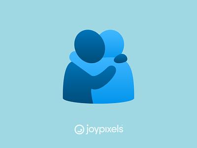 The JoyPixels People Hugging Emoji - Version 6.0 caring care love hugs hugging people hug reaction glyph graphic emojis character illustration icon emoji