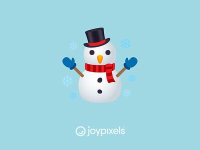 The JoyPixels Snowman with Snow Emoji - Version 6.0 frosty christmas snowflake snowflakes snowing winter snow snowman glyph graphic emojis character illustration icon emoji