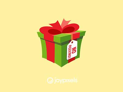 The JoyPixels No Peeking Emoji Sticker - Winter Joy bow ribbon santa present gift christmas glyph graphic emojis illustration icon emoji