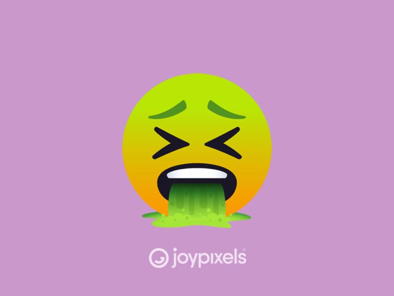 The JoyPixels Vomit Face Emoji - Version 5.0 ill sick barfing barf vomiting puking puke graphic face emojis smiley face smiley reaction illustration character icon emoji