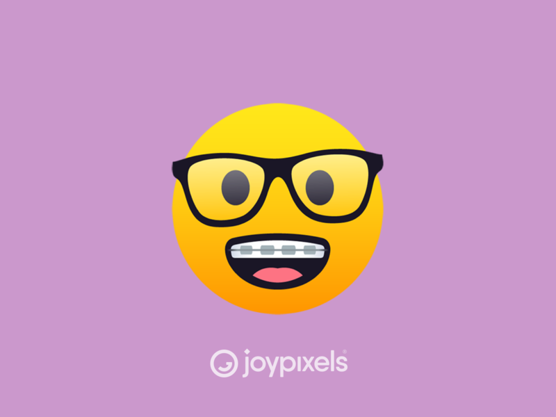 The JoyPixels Nerd Face Emoji - Version 5.0 glasses braces dorks nerds dweeb dork nerdy nerd graphic glyph fun face smiley face smiley reaction illustration character icon emoji