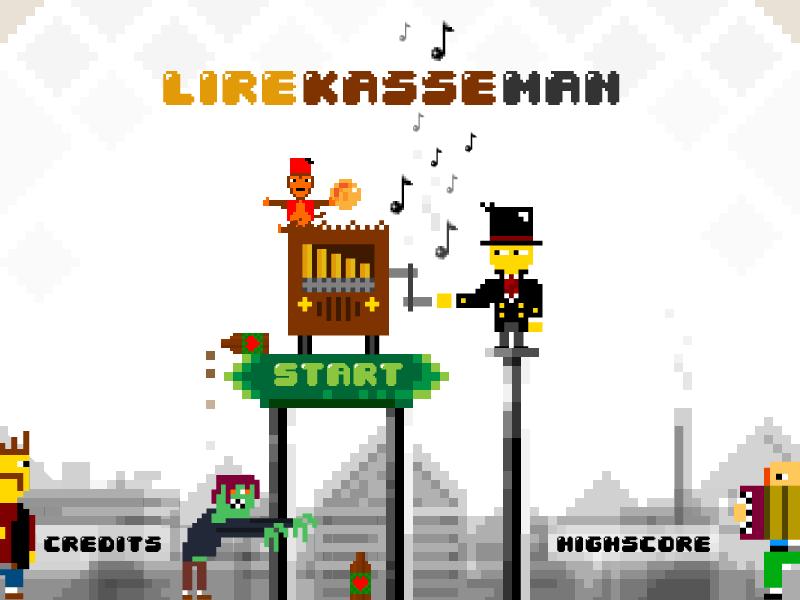 Lirekasse-man – Titlescreen design (Barrelorgan-man) uix ux art direction design vector landscape skyline indie illustration game pixelart globalgamejam