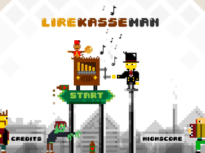 Lirekasse-man – Titlescreen design (Barrelorgan-man) uix ux art direction design vector landscape skyline indie illustration game pixelart globalgamejam