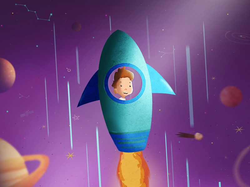 A Boy Travels to Outer Space styleframe motion graphics character designs vector disney character design branding animation painting graphic  design color motion designer photoshop graphic character digital art designer illustrator design illustration