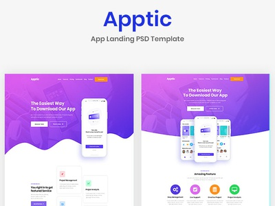 Presentation Image for Apptic - App Landing PSD template