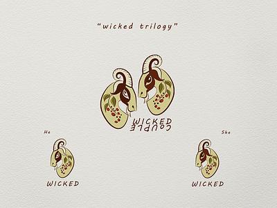 Wicked Trilogy branding illustration design icon logo vector goats