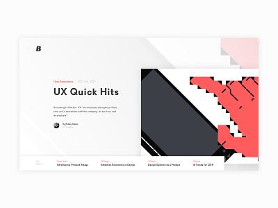 UX Blog Homepage Design ui design blog design web design