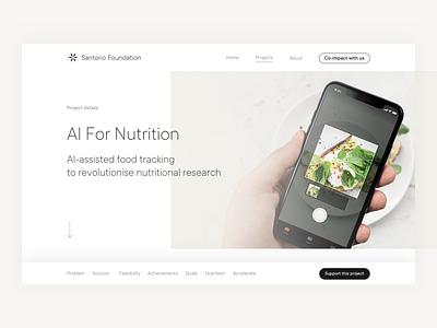 Santorio Foundation black and white cards case study engraving health minimal modern philanthropy science ui user inteface ux web website