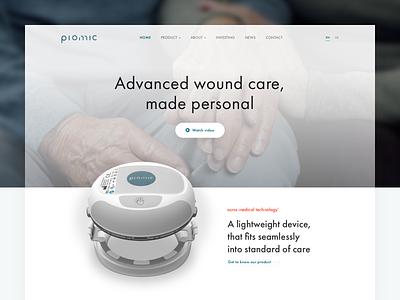 Piomic web design startup health minimal website web user interface ui