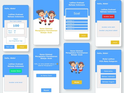 Childrens Understanding Educational Mobile App quiz blue minimalist student school children educationgame game education uiux ui mobile ui java ios andoird mobileapp 3d
