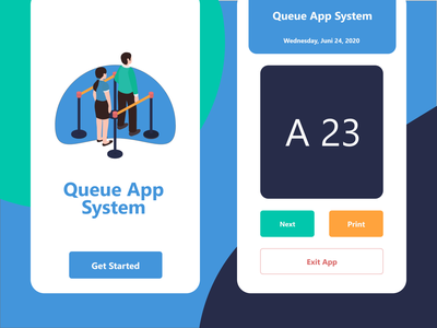 Queue App System for Mobile queue java ios blue minimalist concept design app modern android ui 3d