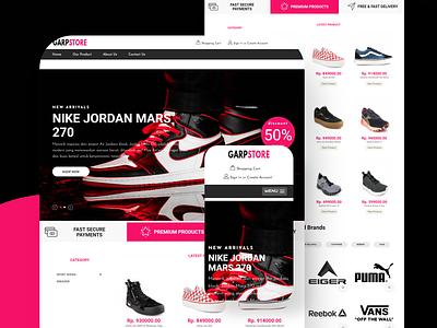 Garpstore Shoe Store Website - Landing Page shop shoe store ecommerce responsive design responsive 3d ui website android homepage landingpage companyprofile braningweb minimalist modern laravel php bootstrap4