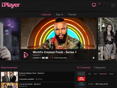 iPlayer Homepage (concept) bbc iplayer concept