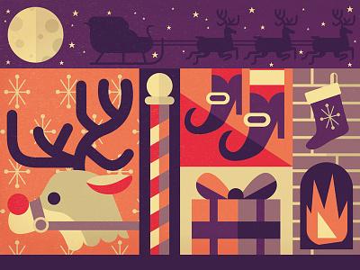 Santa Stuff santa stuff sleigh christmas moon reindeer rudolph present elf north pole fireplace illustration