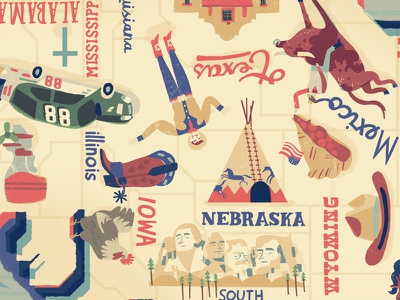 US American Stories - Mike Toth america chichken map nascar usa illustration teepee cowboy mount rushmore