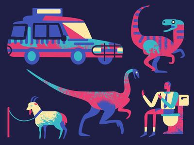 The Diet of a T-Rex jurassic park dinosaur dino velociraptor jeep car goat gallimimus toilet