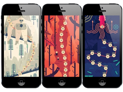 TwoDots on iPhone ice yeti forest tree squid ocean app iphone game