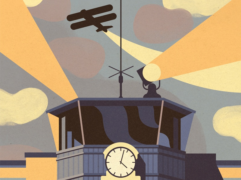1950s Airport airport plane retro tower building clock