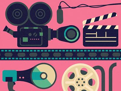 Make It In Hollywood #3 reel film clapper megaphone boom camera
