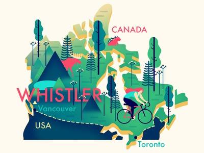 Whistler (Canada) Map cycling canada map mountains trees