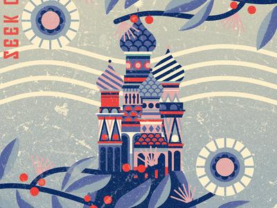 Twodots Postcard #16 flowers kremlin moscow russia