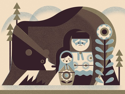 Twodots Postcard #17 vintage retro trees dolls russia matryoshka bear