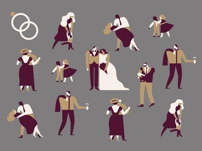 Wedding Postcard people dancing rings wedding