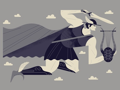 Hermes' Message clouds flying sword lyre hermes